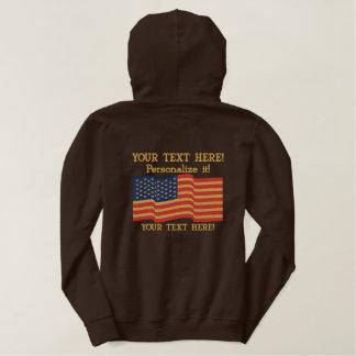 Amerikanische Flagge USA personifizieren es! Große Bestickter Hoodie