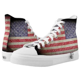 Amerikanische Flagge USA-Schmutz Hoch-geschnittene Sneaker
