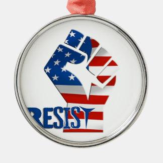 Amerikanische Flagge widerstehen angehobener Faust Rundes Silberfarbenes Ornament