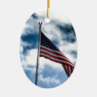 Amerikanische Flaggen-Keramik-Verzierung Ovales Keramik Ornament