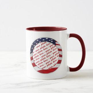 Amerikanische Flaggen-Kreis-Foto-Rahmen Tasse