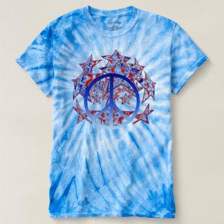 Amerikanische gebatikte Sterne mit Friedenssymbol T-shirt