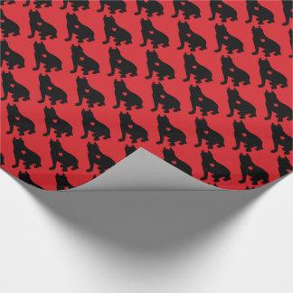Amerikanische Gruben-Stier-Terrier-Silhouette Geschenkpapier