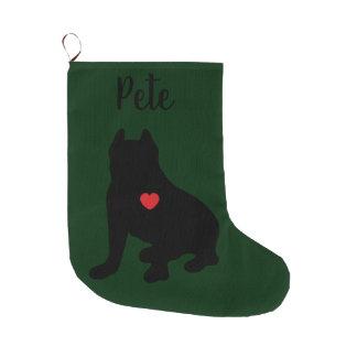 Amerikanische Gruben-Stier-Terrier-Silhouette Großer Weihnachtsstrumpf