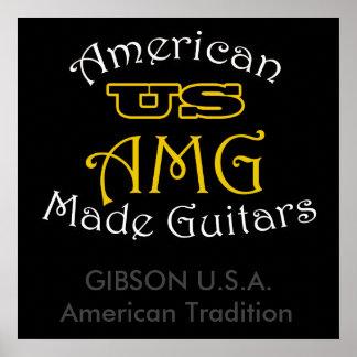 Amerikanische hergestellte Gitarren Gibson USA US Poster