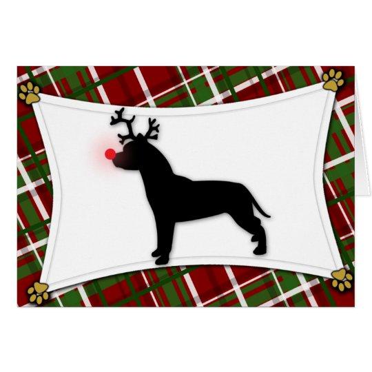 Amerikanische Pitbull-Terrier-Ren-Weihnachtskarte Grußkarte