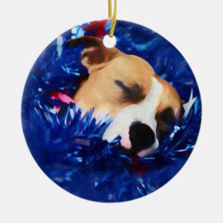 Amerikanische Pitbull Terrier USA patriotischer Keramik Ornament