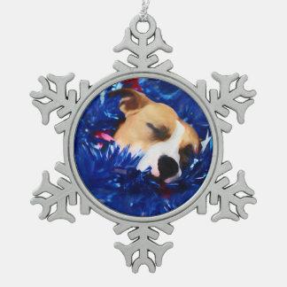 Amerikanische Pitbull Terrier USA patriotischer Schneeflocken Zinn-Ornament