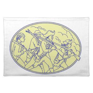 Amerikanische revolutionäre Soldat-marschierendes Stofftischset
