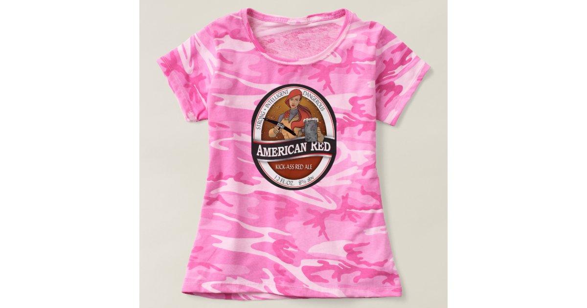amerikanische rote rosa cammo damen t shirt. Black Bedroom Furniture Sets. Home Design Ideas