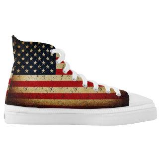 Amerikanische Schmutz-Flagge USA Hoch-geschnittene Sneaker