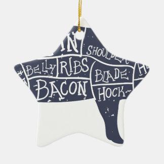 Amerikanische Schweinefleischstücke, Vintages Keramik Ornament
