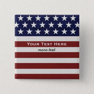 Amerikanische USA-Flaggen-patriotische am 4. Juli Quadratischer Button 5,1 Cm