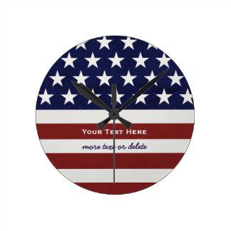 Amerikanische USA-Flaggen-patriotische am 4. Juli Runde Wanduhr