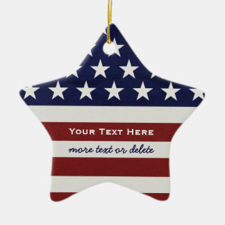 Amerikanische USA-Flaggen-patriotisches am 4. Juli Keramik Ornament