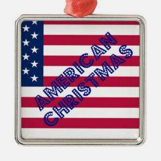 Amerikanische Weihnachtsflagge Quadratisches Silberfarbenes Ornament