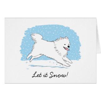 """Amerikanischer Eskimohund """"ließ es schneien"""" Eskie Grußkarte"""