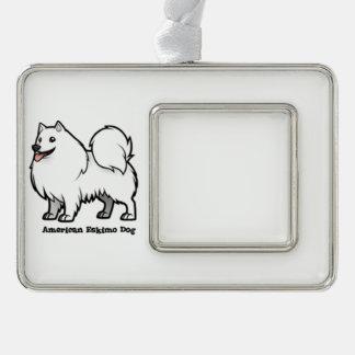 Amerikanischer Eskimohund Rahmen-Ornament Silber