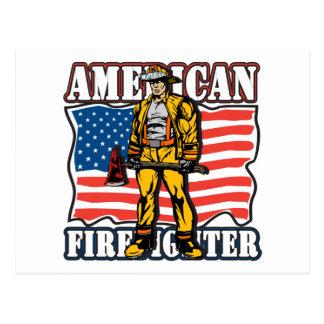 Amerikanischer Feuerwehrmann Postkarte