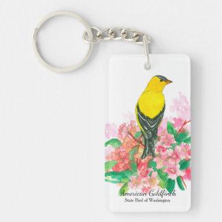 Amerikanischer Goldfinch-Rosa-Rhododendron Schlüsselanhänger