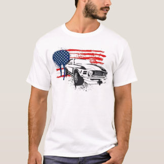 Amerikanischer Muskel USA-Flagge Camaro Auto-T - T-Shirt