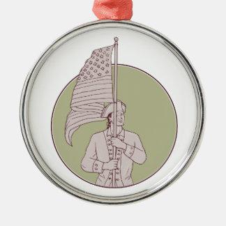 Amerikanischer Patriot stehendes Rundes Silberfarbenes Ornament