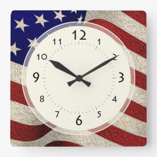 Amerikanischer Patriot-Vintage US Flagge US-Flagge Quadratische Wanduhr