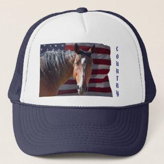 Amerikanischer Quarterhorse und US-Flagge - Truckerkappe