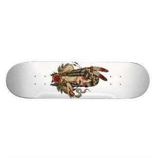 amerikanischer Ureinwohner Squaw, der ein Rohr 18,7 Cm Mini Skateboard Deck