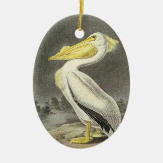 Amerikanischer weißer Pelikan durch Audubon Ovales Keramik Ornament