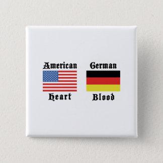 Amerikanisches Herz-Deutsch-Blut Quadratischer Button 5,1 Cm