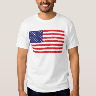 Amerikanisches USA-Flagge *Hand Sketch* wir Flagge Tshirts