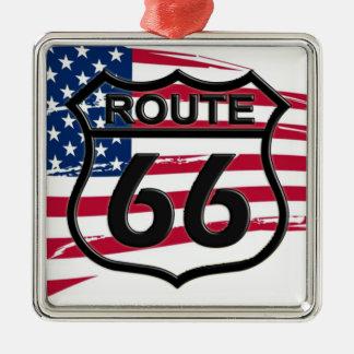 Amerikas Route 66 Quadratisches Silberfarbenes Ornament