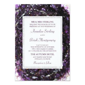 Amethyst Geode   violette Hochzeits-Einladung Karte