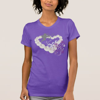 Amor-Liebe perlt Blumenherz-lila T - Shirt