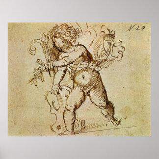 Amor mit einer Violine durch Campagnola, Poster