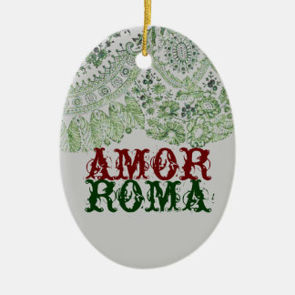 Amor Rom mit grüner Spitze Ovales Keramik Ornament