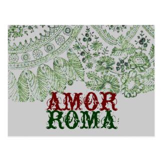 Amor Rom mit grüner Spitze Postkarte