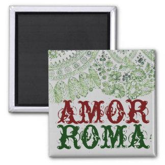 Amor Rom mit grüner Spitze Quadratischer Magnet