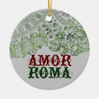 Amor Rom mit grüner Spitze Rundes Keramik Ornament