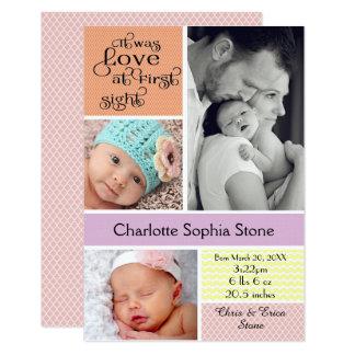 Amour au collage coloré de première vue - fille carton d'invitation 8,89 cm x 12,70 cm