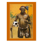 Amour de ballon de football de chefs de guerrier d cartes postales