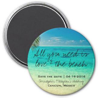 Amour et le magnet rond de date d'économies de magnet rond 7,50 cm