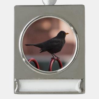 Amsel Banner-Ornament Silber