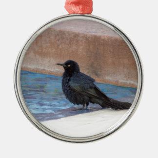 Amsel, die ein Bad im Pool nimmt Rundes Silberfarbenes Ornament
