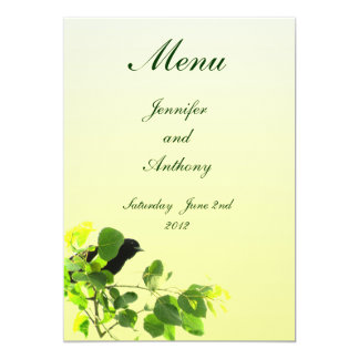 Amsel-Hochzeits-Menü 12,7 X 17,8 Cm Einladungskarte