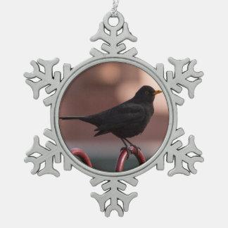 Amsel Schneeflocken Zinn-Ornament