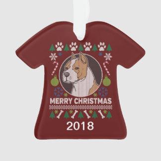 AmStaff Pitbull-hässliche Weihnachtsstrickjacke Ornament