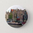 Amsterdam, Häuser auf dem Kanal Runder Button 5,1 Cm