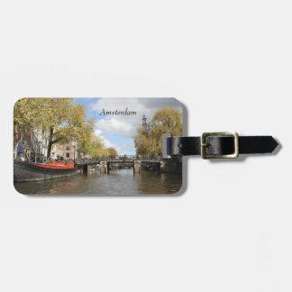 Amsterdam, Kanal, Brücke, Hausboot, Kirchen-Helm Kofferanhänger